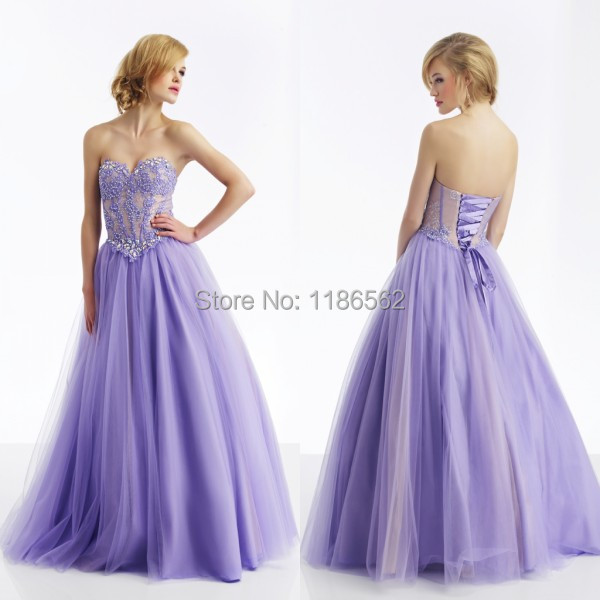 Romantic Ball Gown Sweetheart Appliques with Beads Crystals Two Tones Lace up Tulle Long Lilac Prom Dresses for Girls 16