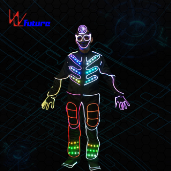 433 wireless controller led tron costume for group dance,programmable LED clothing with shoes