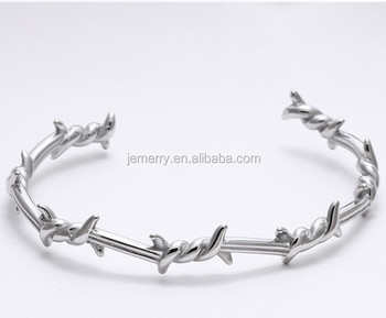 Stainless Steel Barbed Twist Wire Women Jewelry Cuff Open Bangle Bracelet Special Gift