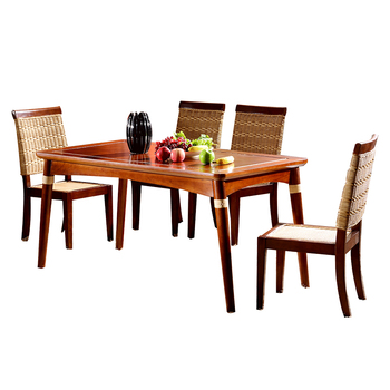 Vogue Design 6 Seat Rectangular Wooden Dining Table Chair Set