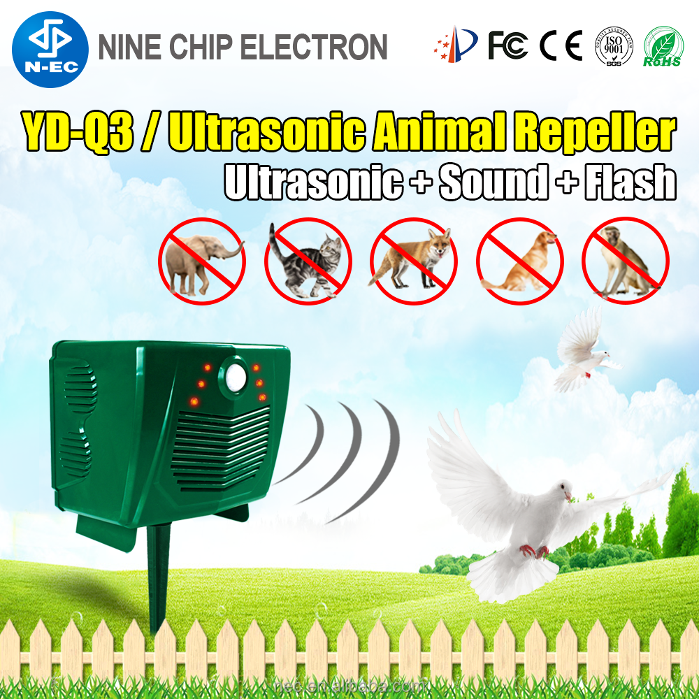 Ultrasonic big animal repeller, solar panel insect repellent