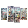 Modern Cityscape Oil Painting Printed on Canvas Raining Scenery Fine Arts 4 Pieces Digital Art Prints Home Wall Decor