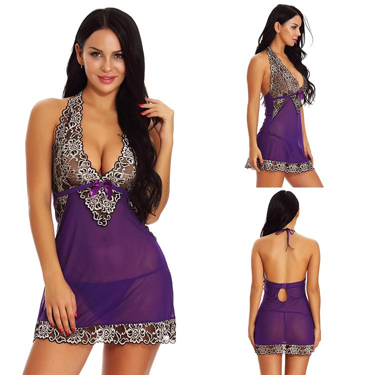 Wholesale High Quality Lace Purple Floral Women Lingerie Mini Dress фото