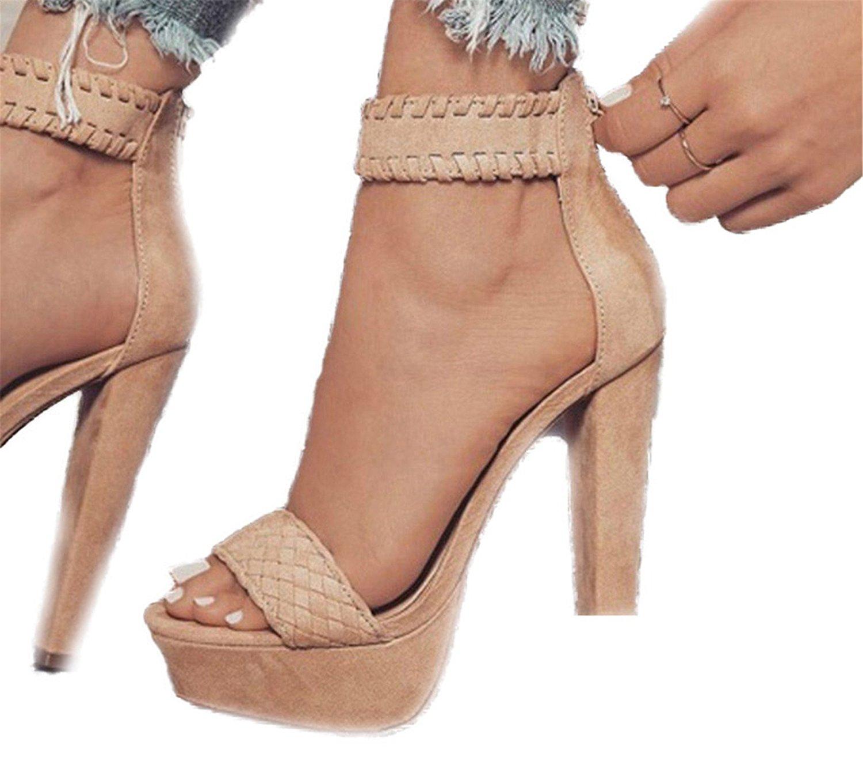 Olive Tayl Summer Shoes Women Fashion Sexy Sandals Spike Heel Zipper Women High Heel Peep Toe Sandals Peep Toe Sandals
