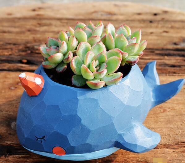 Whale Planter Box Flower Pot Stand Animal Statue Resin Home Decor Gift