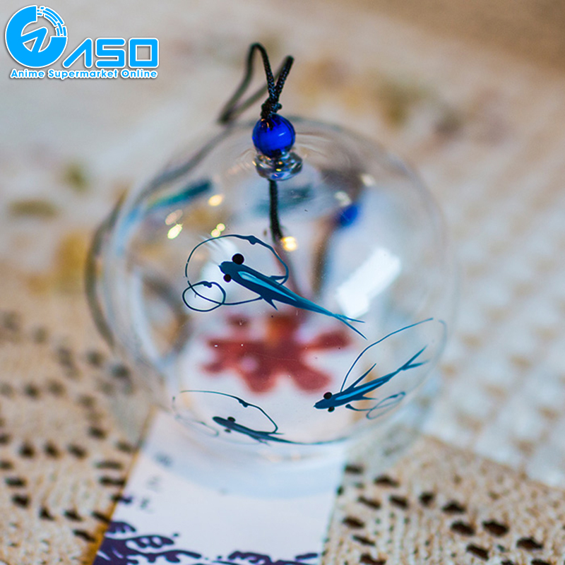 2pcs garden glass wind chimes Blue Fish summer Cozy Japanese Traditional wind bell car hanging pendant home decoration gifts