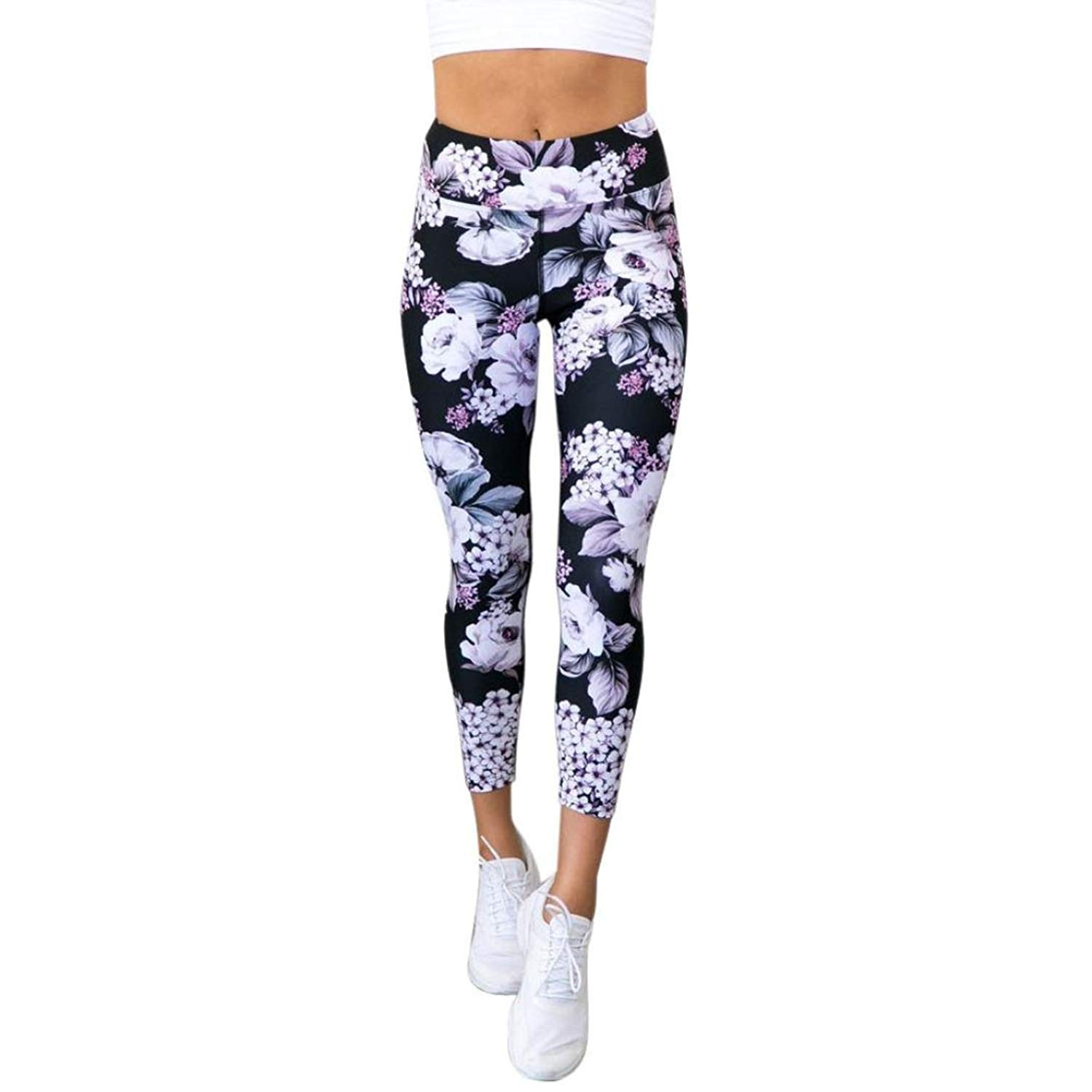 a0bb16ad183 Get Quotations · RAISINGTOP Women Yoga Pants 7 8 Length Floral Print Sports  Gym Running Leggings Athletic Trouser
