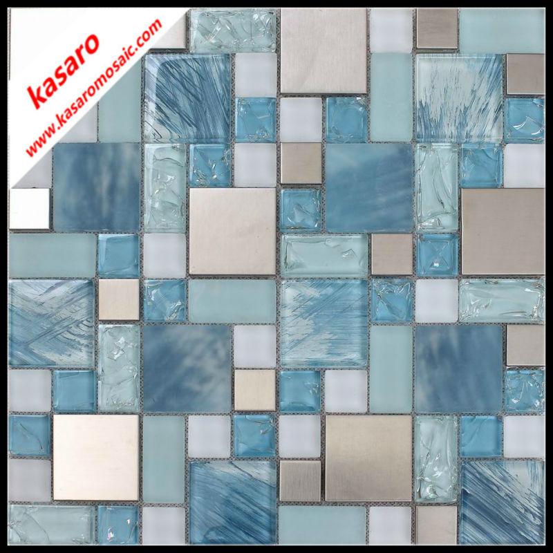 Hot Sale Random Mosaic Tile PatternStainless Steel Mix Glass Mosaic Gorgeous Random Tile Pattern