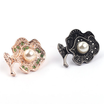 Popular Vintage Pearl Rhinestone Flower Brooch 2 Colors Enamel Lapel Brooch Pin For Women Clothes Bags Accessories
