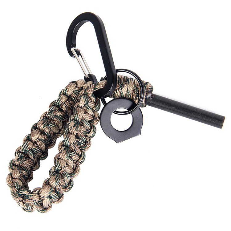 Multi Functional paracord tool keychain With Fire stick Flintstone keychain