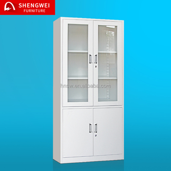 tall cheap display iron filing storage almari cabinets with swing glass doors