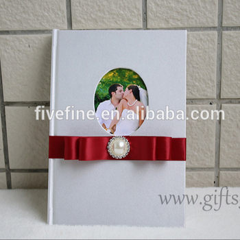 Handmade Wedding Guest Book With Photo Frame On The Cover Wedding