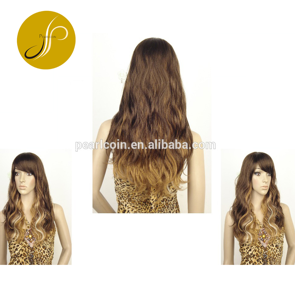 Trending Ombre ColorHigh Quality 100% Premium Synthetic Fiber Hair Heat Retardant Long Wig
