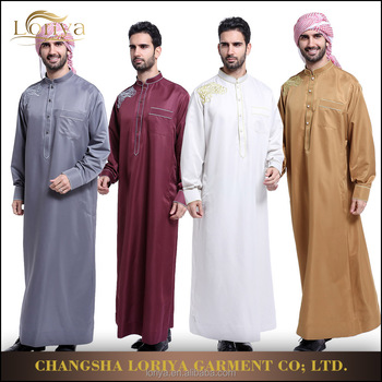 Islamic men wear kaftan jubah Arabian robe jubah abaya hot sale muslim dubai abaya for men