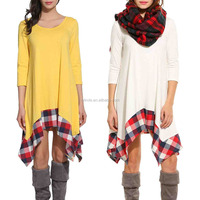 Western Gowns Party Dresses Womens Long Sleeve Loose Plaids Irregular Hem Casual Western Tunic Shirt Dress
