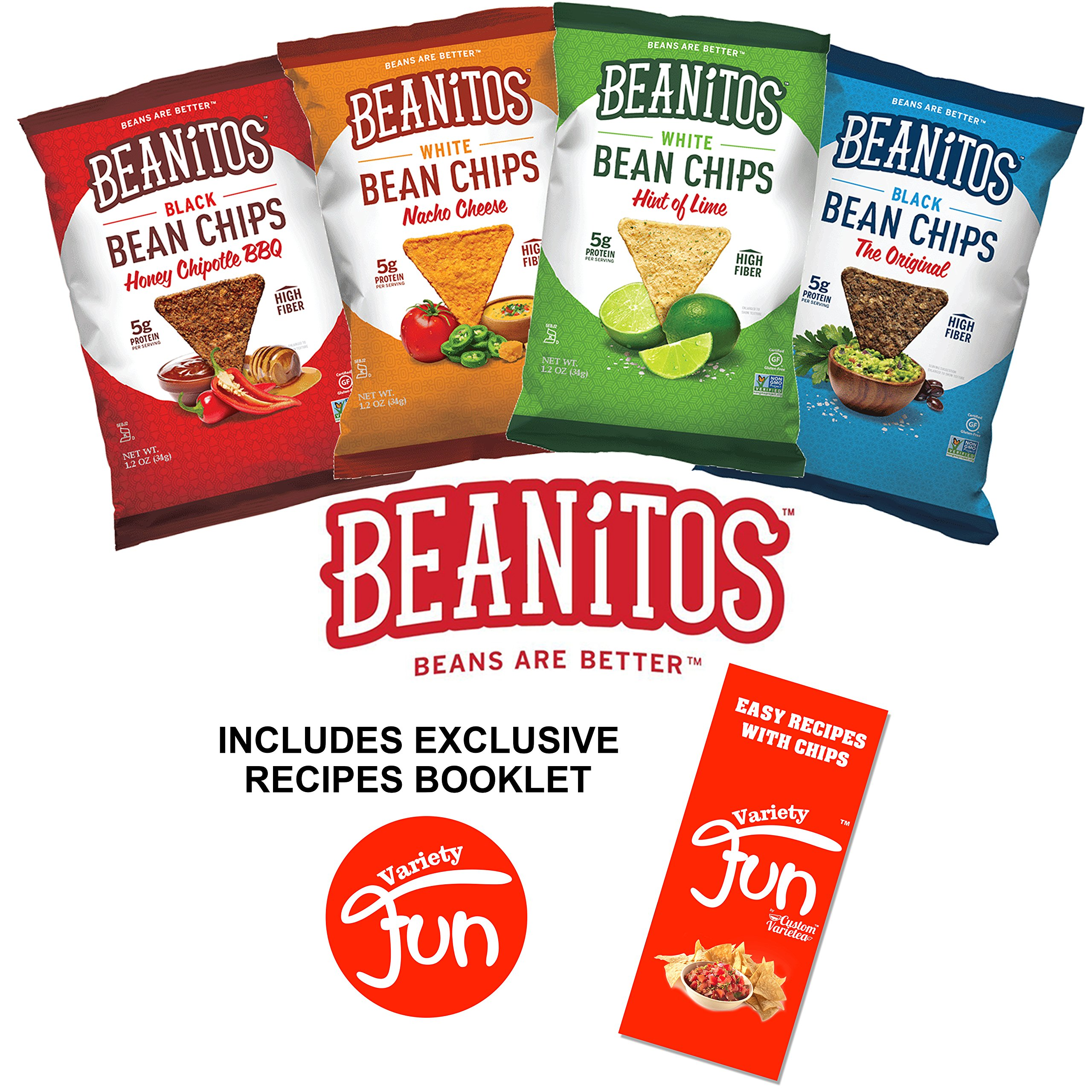 Beanitos Chips Variety Pack 8 Bags 4 Flavors (2 Original Black Bean, 2 Chipotle BBQ, 2 Nacho Cheese, 2 Hint of Lime) All Natural Gluten Free Vegan Certified Kosher (8 Count), (1.2 oz Each)