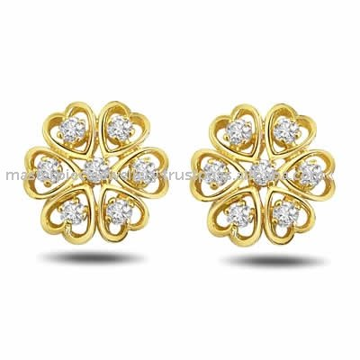 Round 0. 25ct Certified Diamond Gold Earrings
