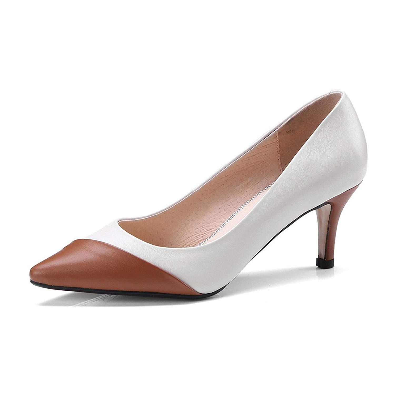 f5536d96f96b Get Quotations · Nine Seven Genuine Leather Women s Pointed Toe Stiletto  Heel Handmade Slip on Cap-Toe Pumps