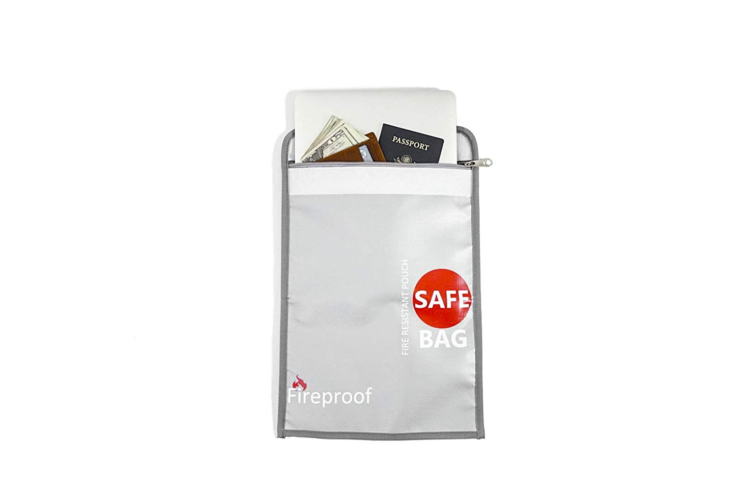 """Pure Purpose 15""""x 11"""" Fireproof Document Bag - NEW AND IMPROVED Non-itchy Silicone Coated Fire Resistant Fiberglass and Water Resistant - Safe Storage for Documents, Money, Passports and valuables"""