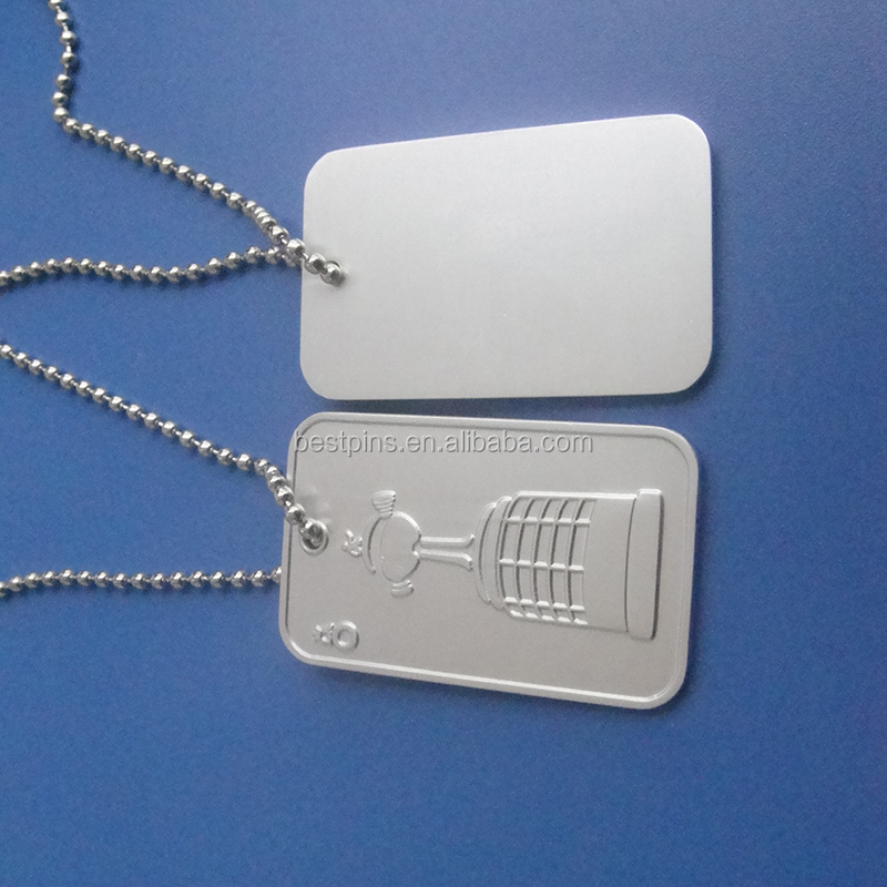 custom metal 3d embossed logo dog tags necklace ball chain