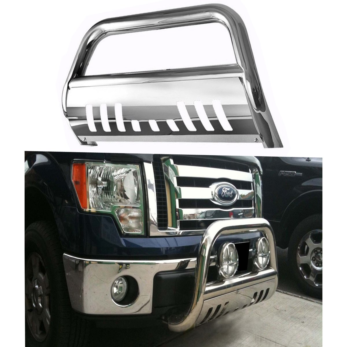 Bull Bar Skid Plate Front Push Bumper Grille Guard Stainless Steel Chrome for 2004-2008 Ford F150 (Not Fit 2004 Heritage)