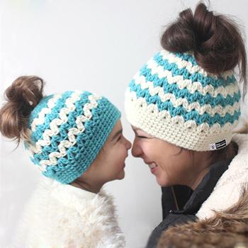 Wholesale Baby And Mum Crochet Ponytail Hat Winter Messy Bun Hats Women Crochet  Patterns Ponytail Beanies 40bd7d19471
