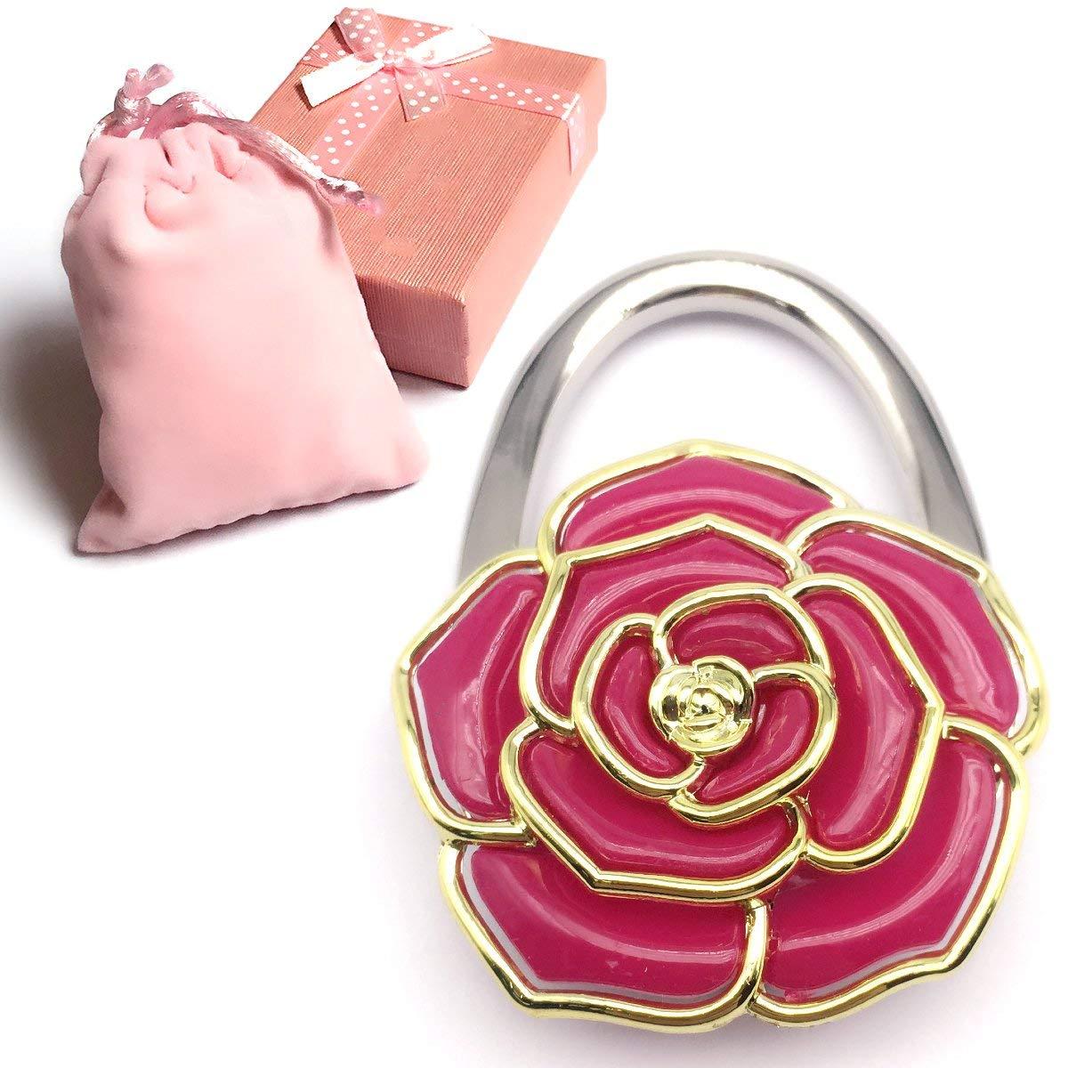 Elesa Miracle Purse Hook8 Choices Foldable Handbag Hanger, Folding Table Hanger, with Velvet Pouch in Gift Box
