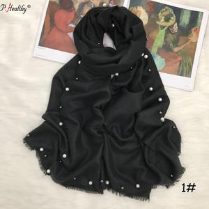 2019 yiwu market hand made pure color pearls sidede luxury cotton jersey india stole
