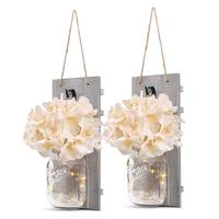 Rustic Wall Sconces LED Fairy Lights & Flowers Mason Jar Home Wall Decor