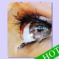 Abstract handpainted abstract beautiful woman big eyes art oil painting for decorative wall