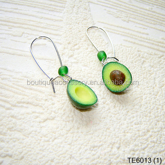 avocado earrings polymer clay food jewelry