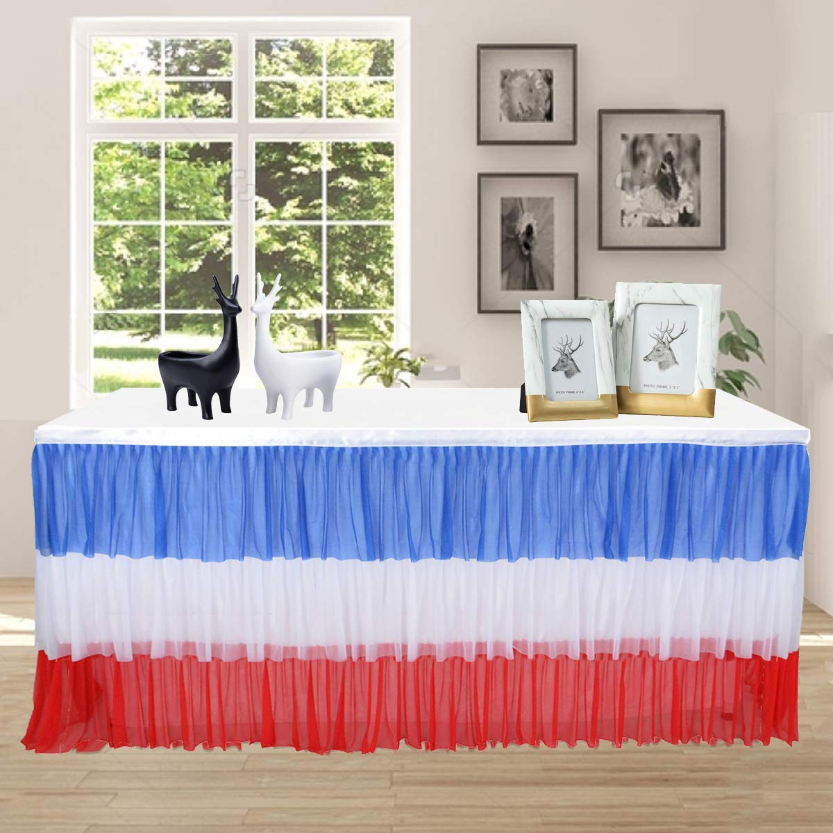 c4c83567c Get Quotations · Red Blue and White Color Patriotic Table Skirt 9FT Tulle Table  Skirt Tutu Table Skirting for