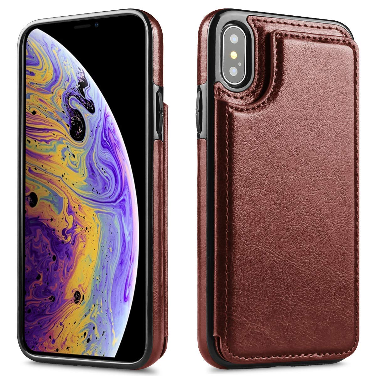 2018 New Design Case For iPhone XR,6.1 inch, Classic Series, Leather Case for iPhone XR Back Slim Cover