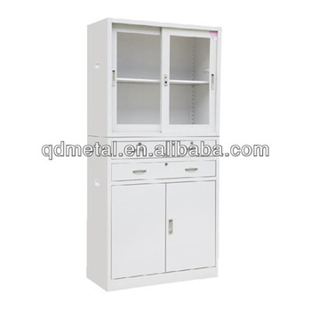 Steel High End Glass Office File Cabinet/Cabinets With Sliding Glass Door