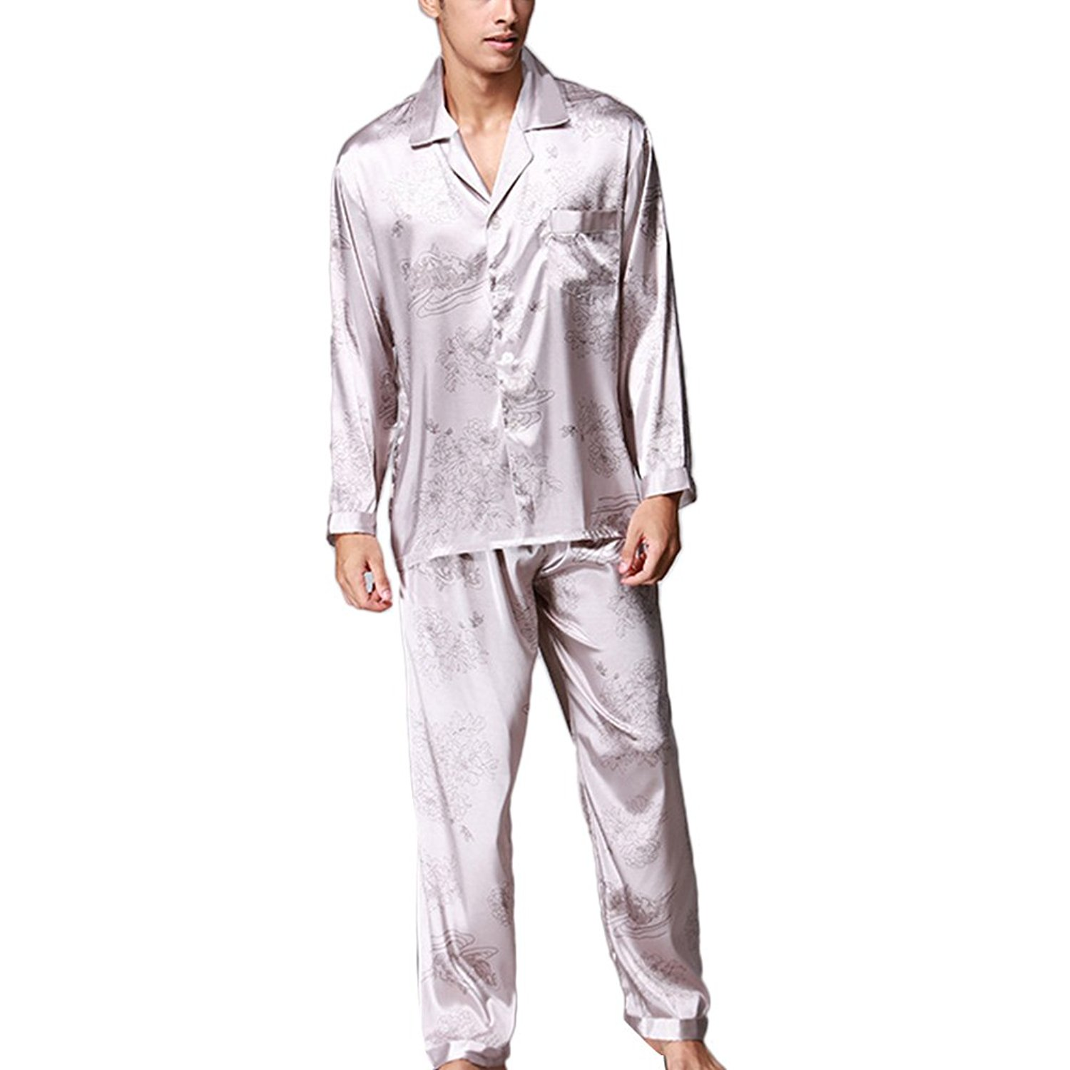 f51d954d75 Get Quotations · Zhuhaitf Mens Long Sleeve Silk Pyjama Set Two pieces Home Clothing  Nightwear