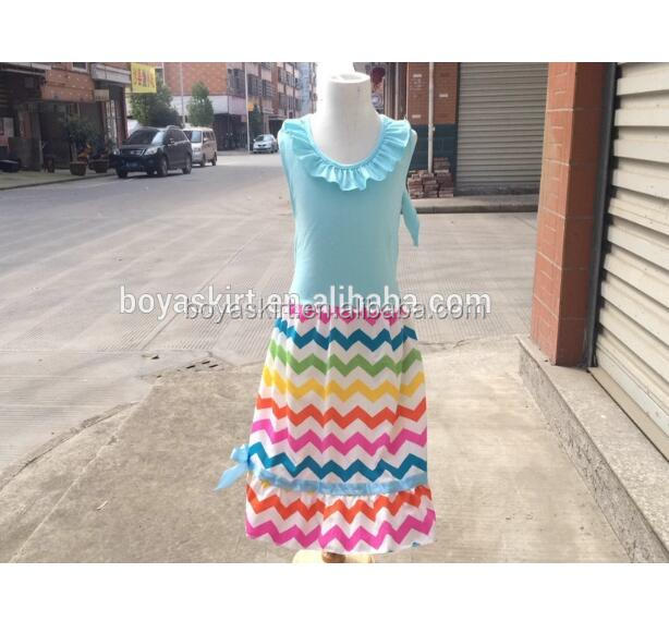 FASHION!Kids Chevron Girl Cotton Beach Dresses Party Wear Ruffled Maxi Infant Dress