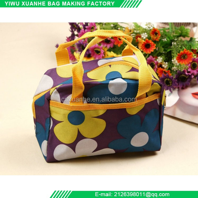 Blank solid argyle nylon travel cosmetic bag with zipper portable make pouch