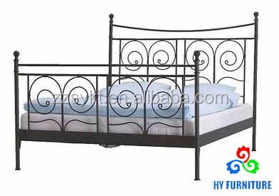 Factory price single twin size metal steel pipe platform bed frame with 2 headboards