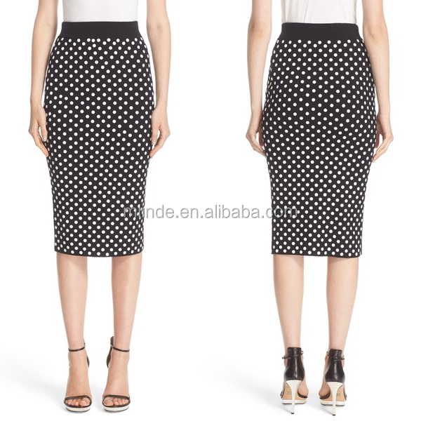 New arrival OEM guangzhou factory wholesale price vintage polka dot high waist pencil midi skirt for lady womens