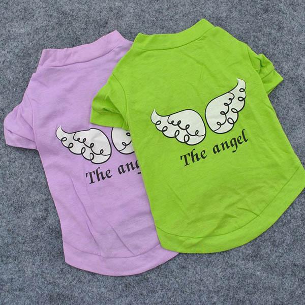 Симпатичные Pet щенок одежда крыло ангела рисунок футболка возглавляет Clothings