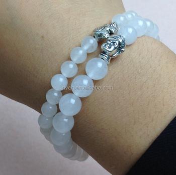 Sn0439 White Jade Bracelet Men Elephant Charms Stretch Buddha Set Mala Jewelry