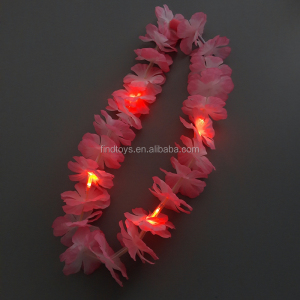 Chinese manufacturer LED glow in the dark silk flower light up lei necklace led flashing flower leis
