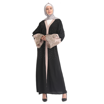 2019 New Model Abaya black soft crepe With Stones in Dubai 2019