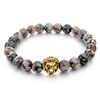 2016 Fashion Jewelry 8mm Natural Stone Gray Picasso Jasper Bead Bracelets &Bangle Lion Head Charms Bracelet Gift
