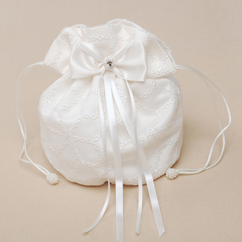 M6616 Embroidery Satin Elegant Flower Girl Bag for Wedding with Lovely Bowknots