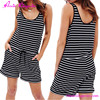 Online Shop Sexy Short Stripe Black And White Jumpsuits For Women