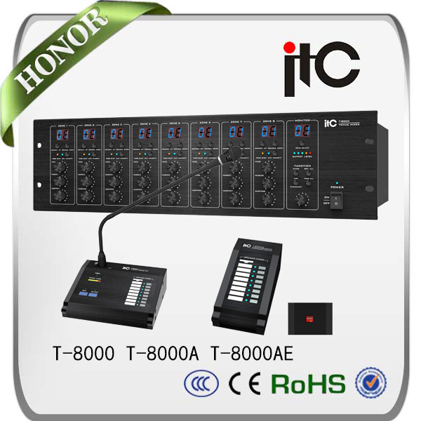 ITC T-8000 audio matrix pa system with 7.1 channel amplifier