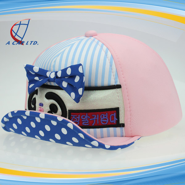 Summer Children Soft Visor Baseball Hat Cute Baby Caps With Bow-tie