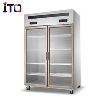 UF 1210 Two glass Doors Free Standing Kitchen Refrigerator Freezer for hotel/ restaurant