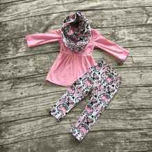 baby winter OUTFITS girls 3 pieces sets with scarf baby girls pink top with plum blossom pant sets girls plum blossom clothes
